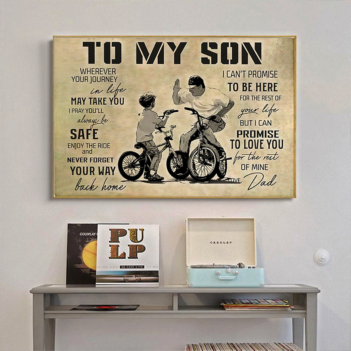 BMX to my son love dad poster A3