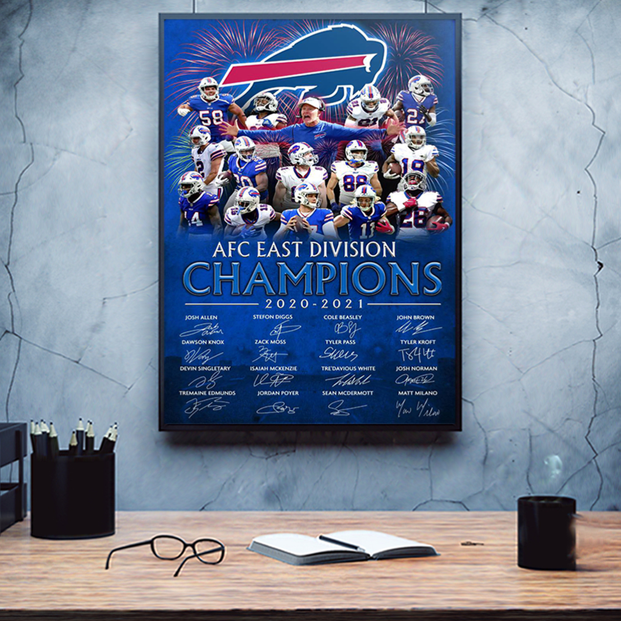 Buffalo Bills 2020 AFC east division champions signature poster A1