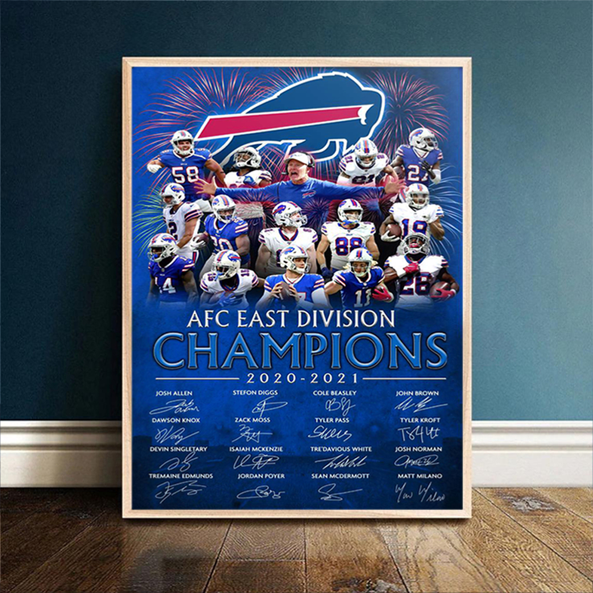Buffalo Bills 2020 AFC east division champions signature poster A2