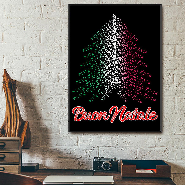 Buon natale italian flag tree poster A3