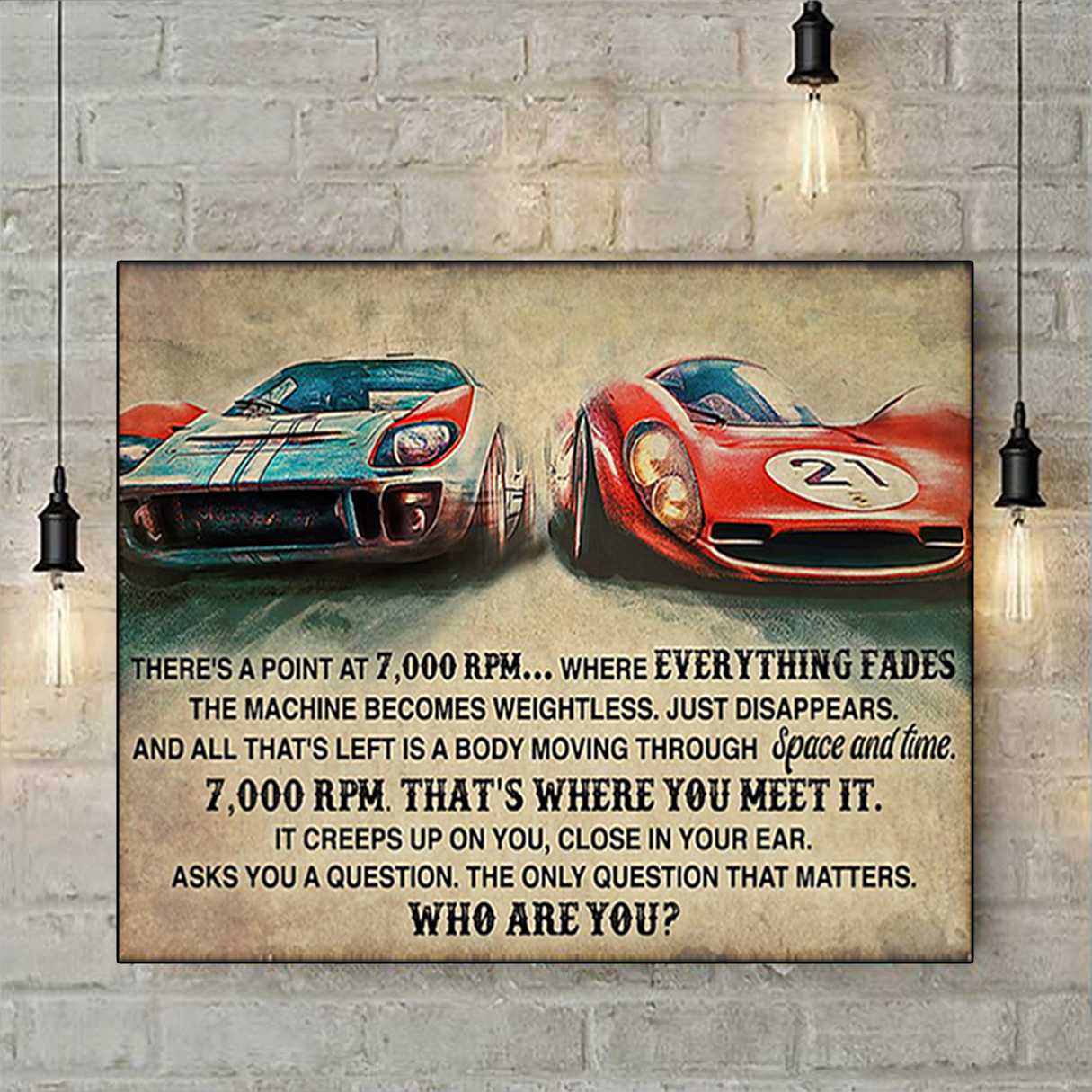 Car racing there's a point at 7000 RPM poster A1