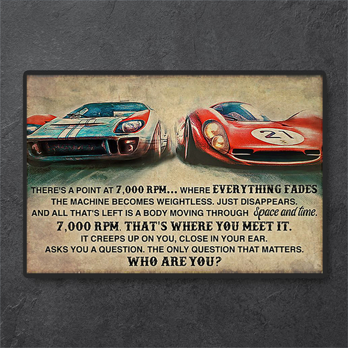 Car racing there's a point at 7000 RPM poster A3