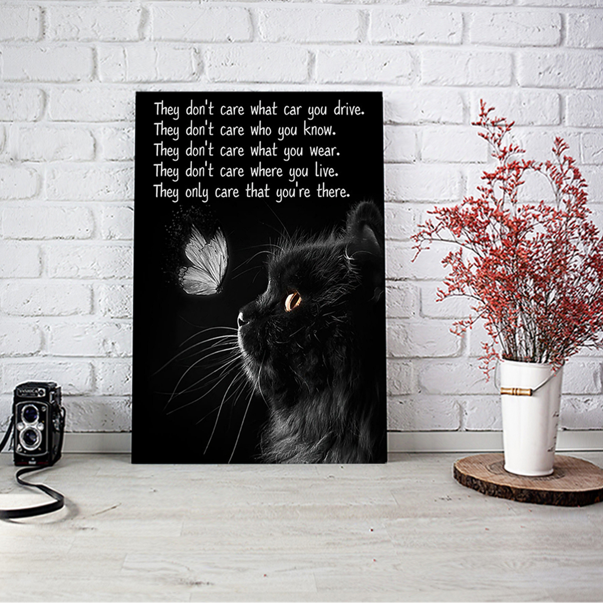 Cat they don't care what car you drive poster A2