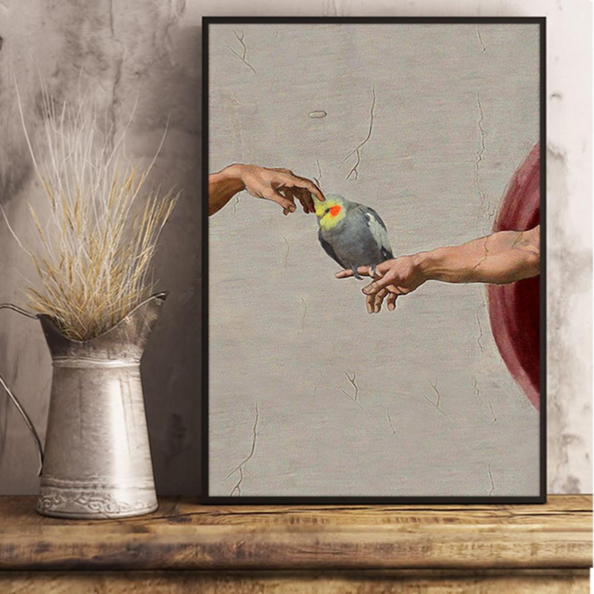 Cockatiel creation of adam poster A3