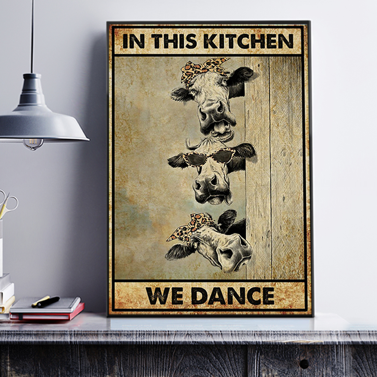 Cow in this kitchen we dance poster A2