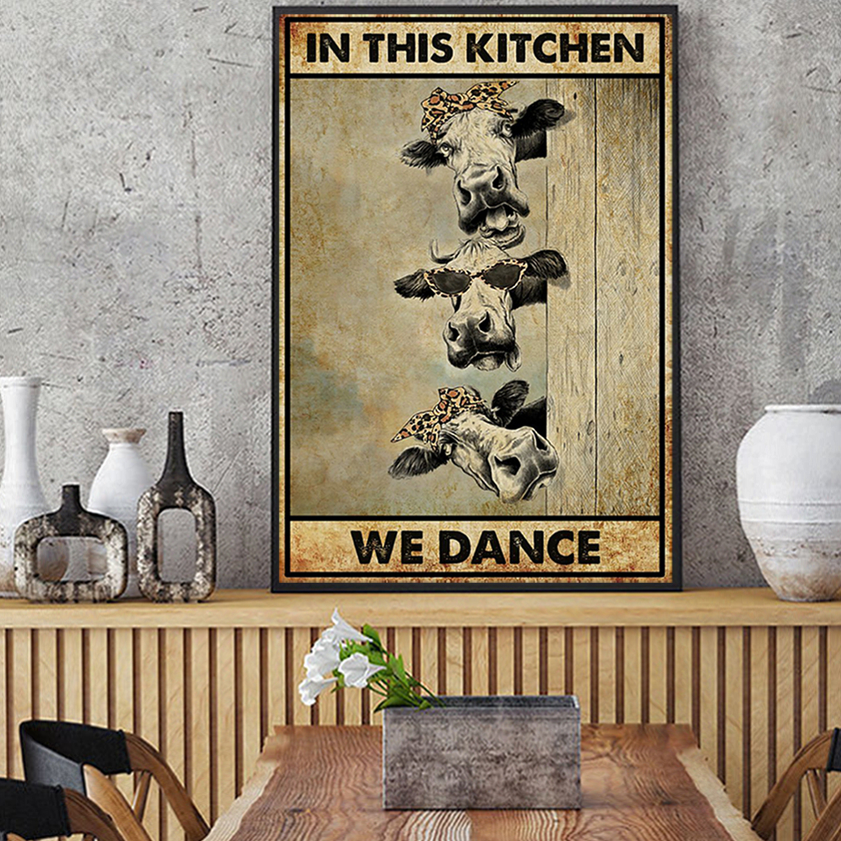 Cow in this kitchen we dance poster A3