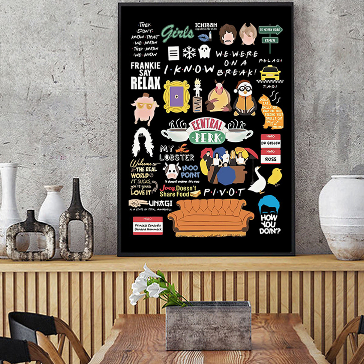 Friends tv show quotes poster A1
