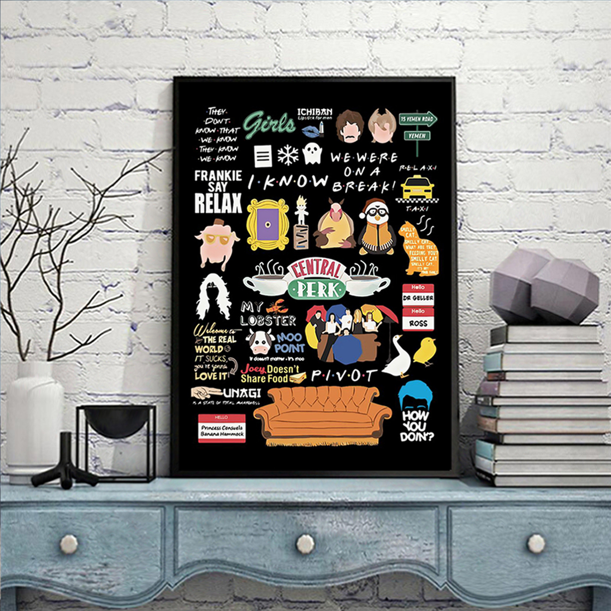 Friends tv show quotes poster A2