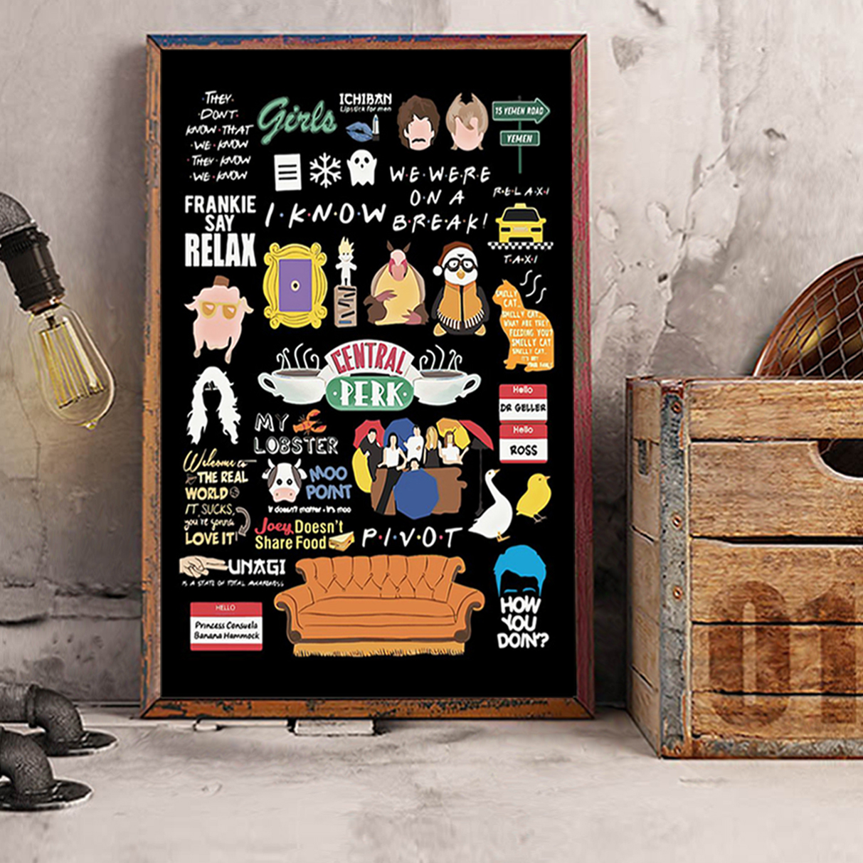 Friends tv show quotes poster A3