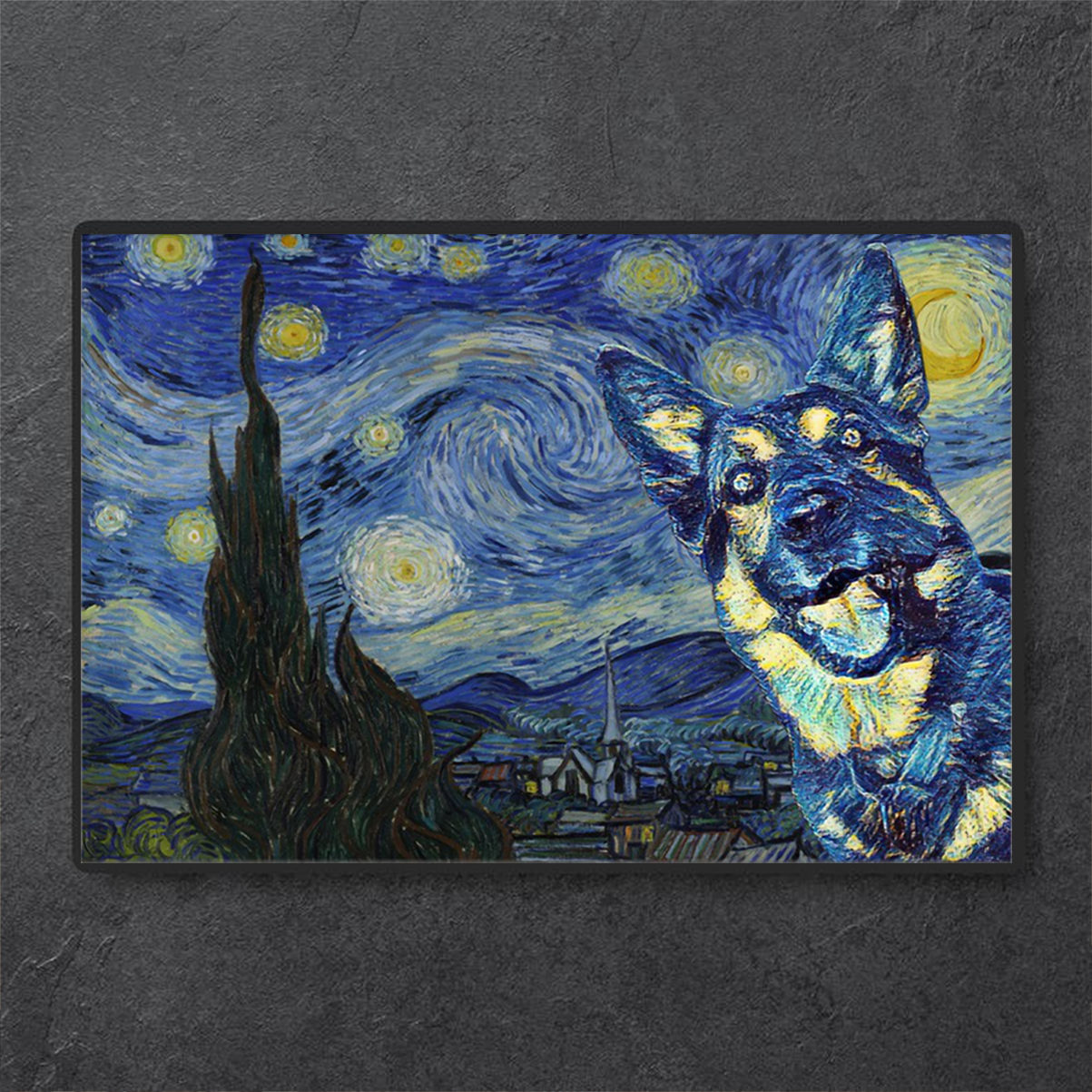German Shepherd Starry Night Poster A1