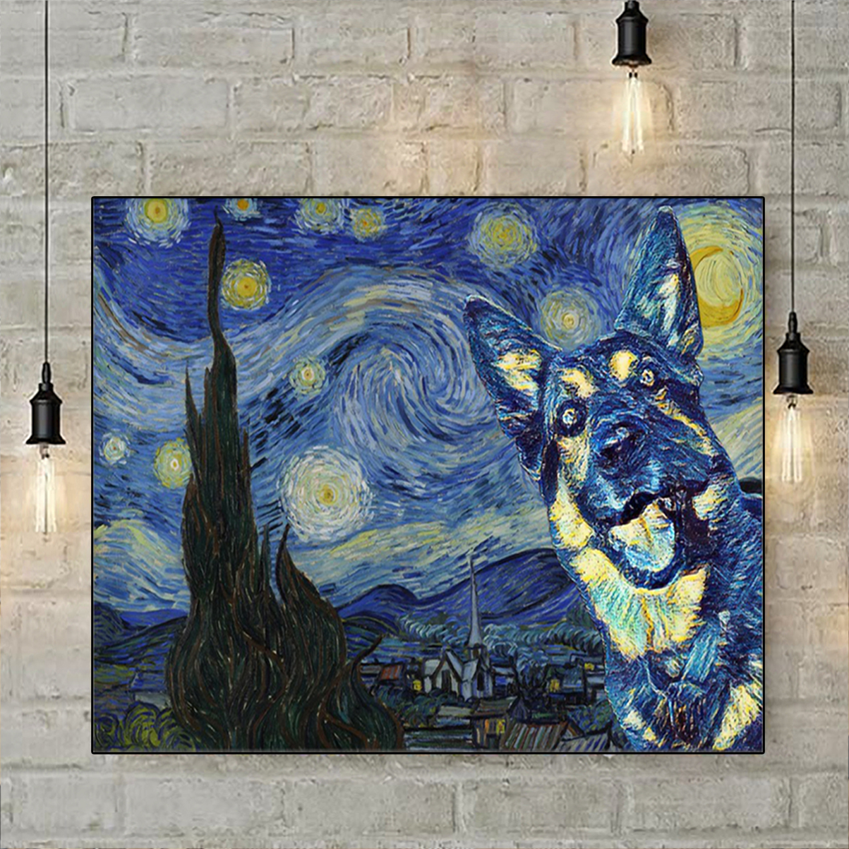 German Shepherd Starry Night Poster A3