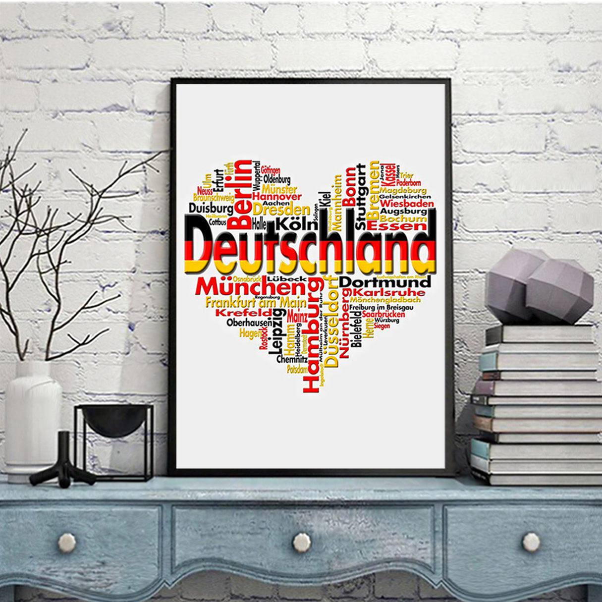 Germany deutschland heart cities poster A1