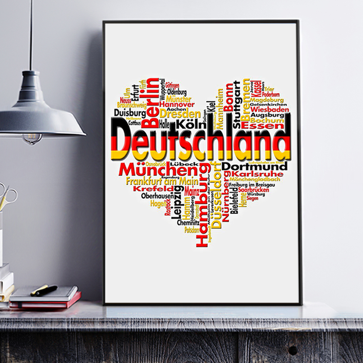 Germany deutschland heart cities poster A2