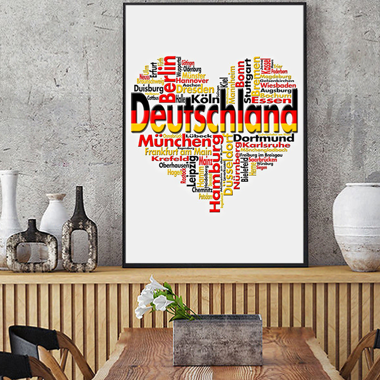 Germany deutschland heart cities poster A3