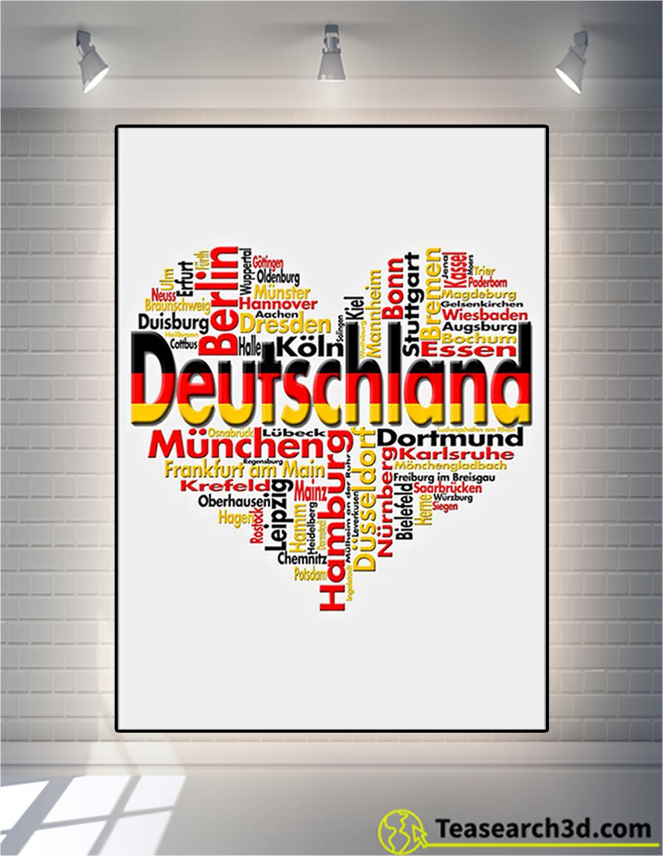 Germany deutschland heart cities poster