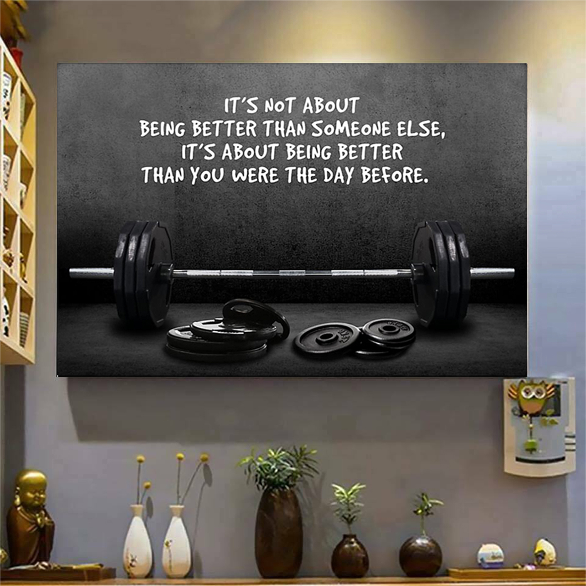 Gym barbell it's not about being better than someone else poster A1