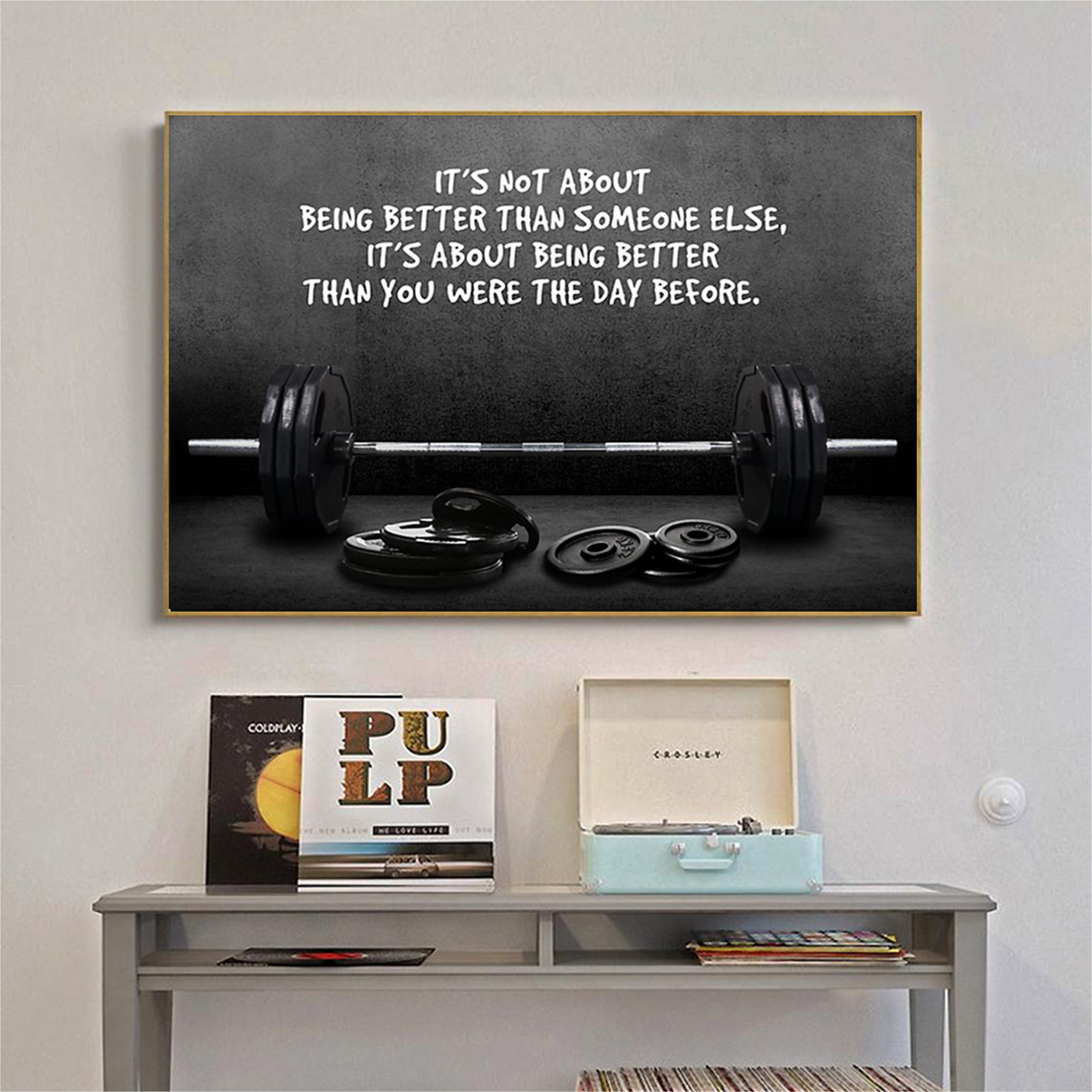 Gym barbell it's not about being better than someone else poster A2