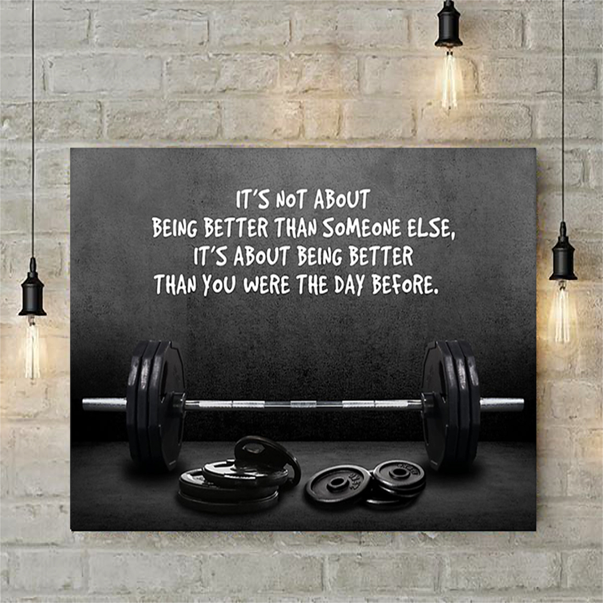 Gym barbell it's not about being better than someone else poster A3