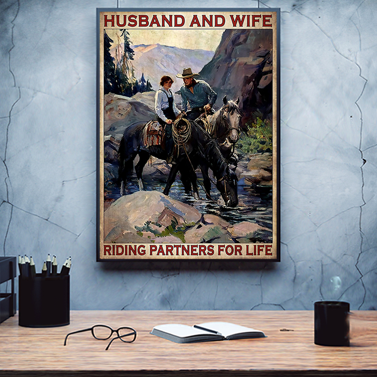 Husband and wife riding partners for life poster A1