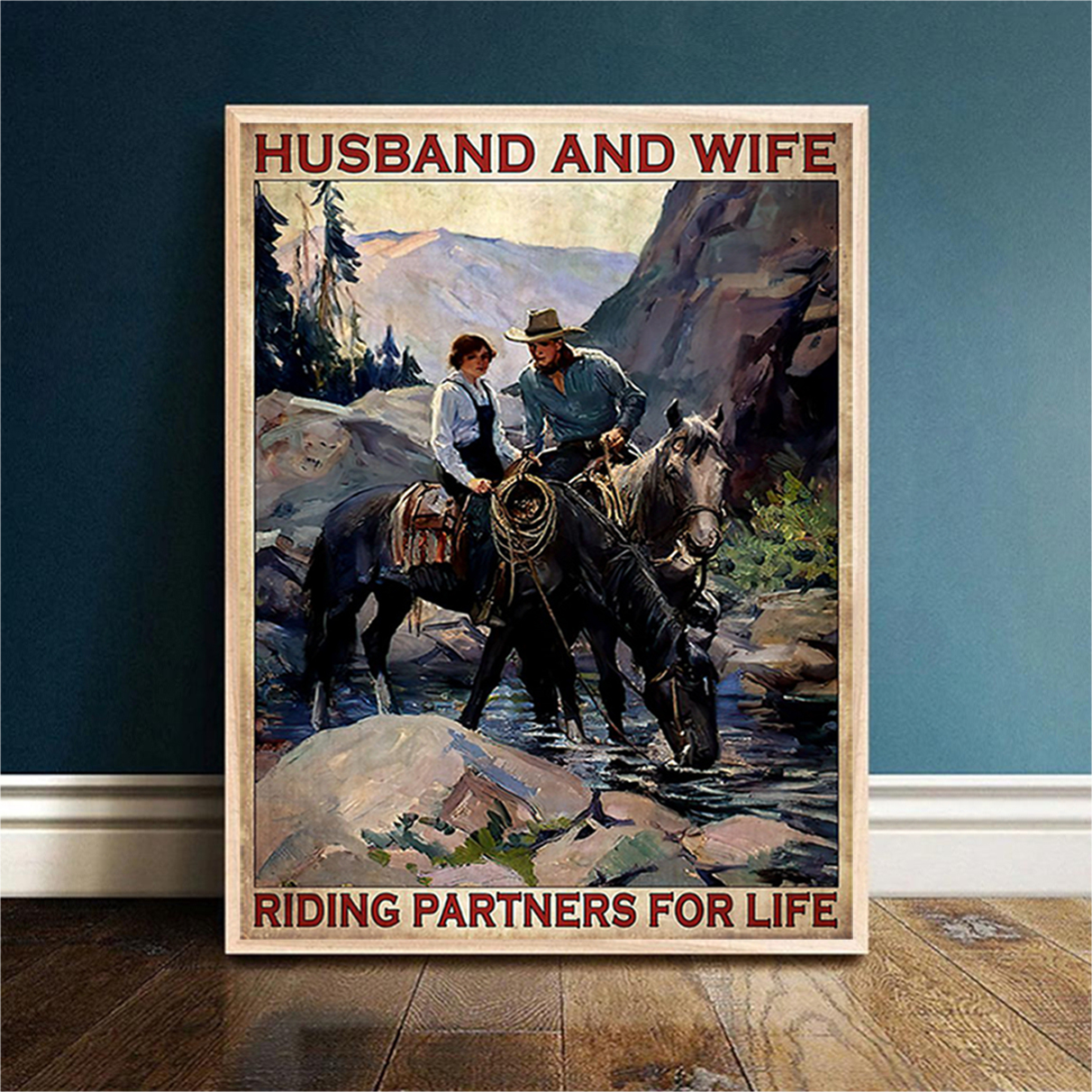 Husband and wife riding partners for life poster A2