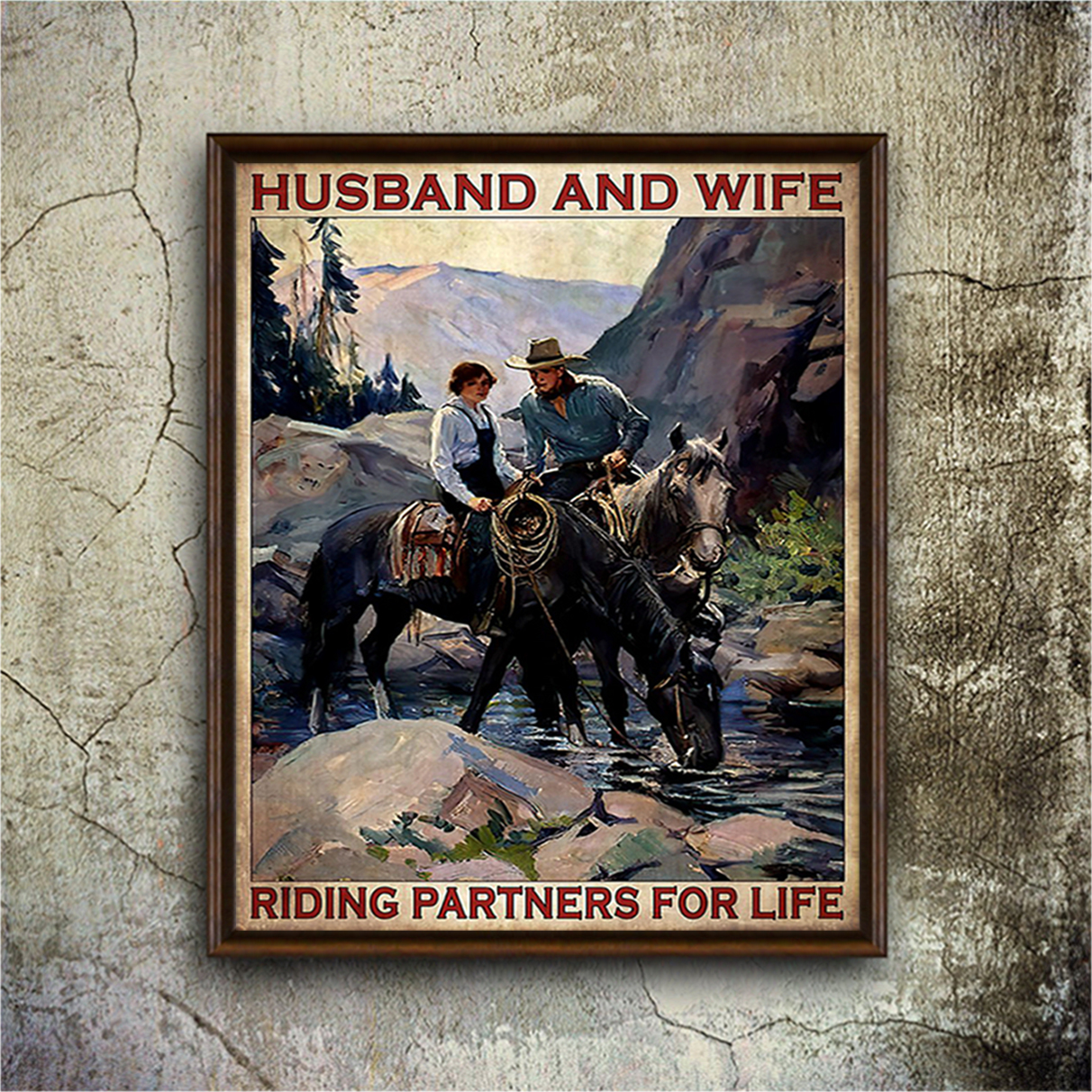 Husband and wife riding partners for life poster A3