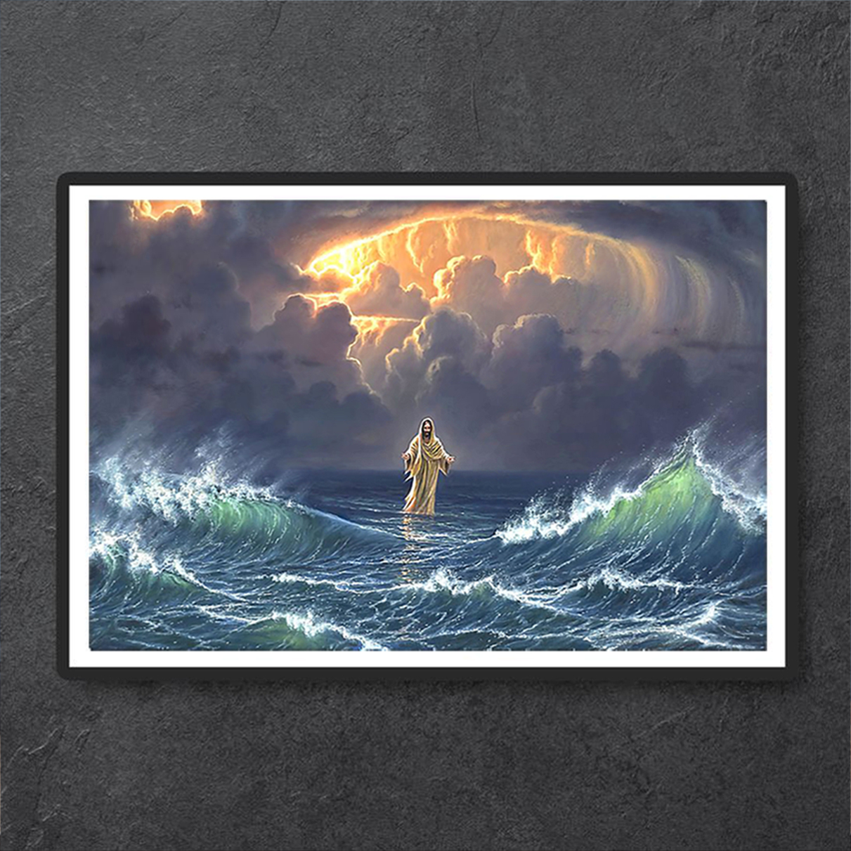 In the storm Jesus walked on the water poster A1