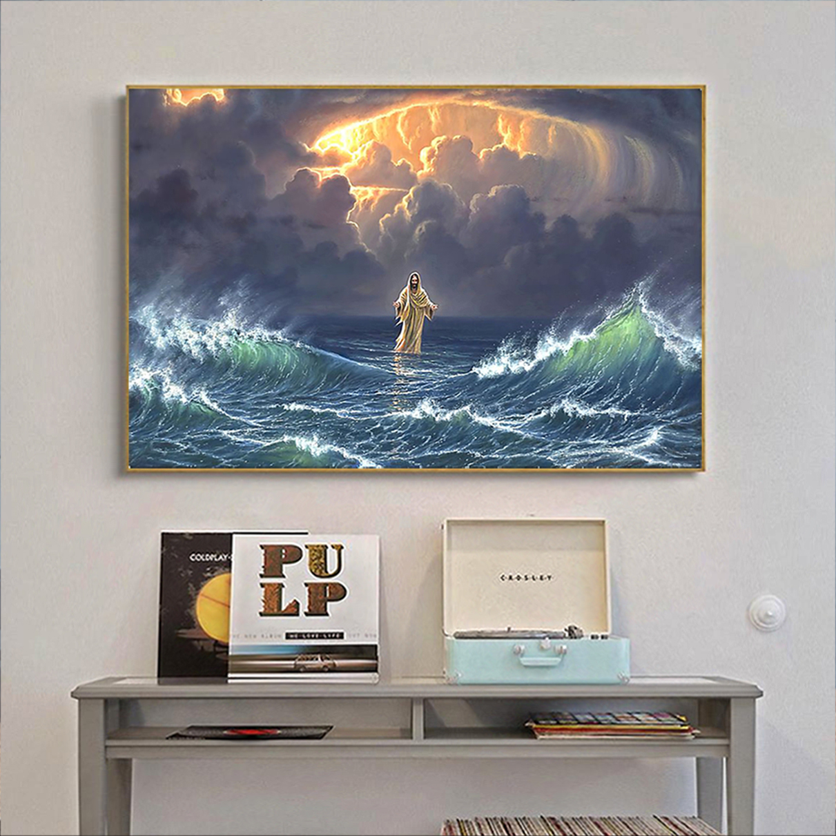 In the storm Jesus walked on the water poster A2