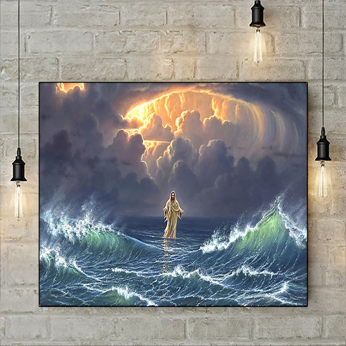 In the storm Jesus walked on the water poster A3