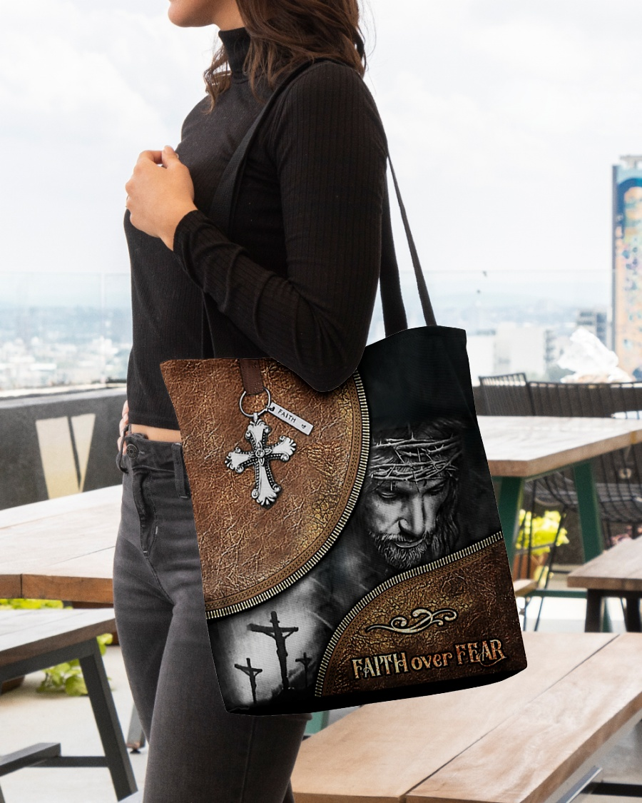 Jesus faith over fear all-over tote bag pic 1