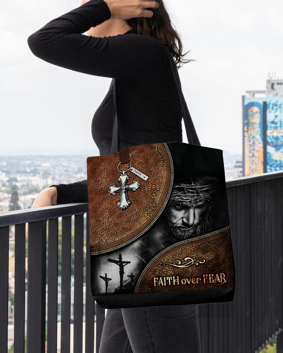 Jesus faith over fear all-over tote bag pic 2