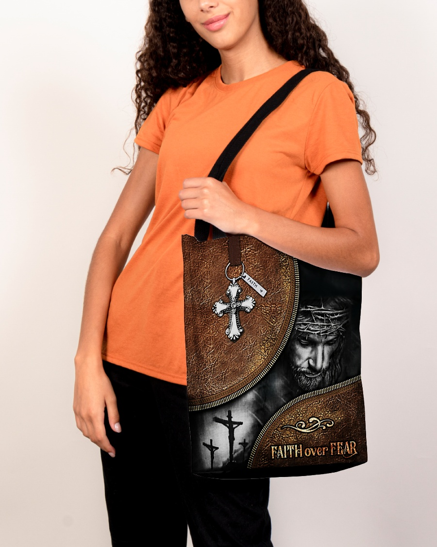 Jesus faith over fear all-over tote bag pic 3