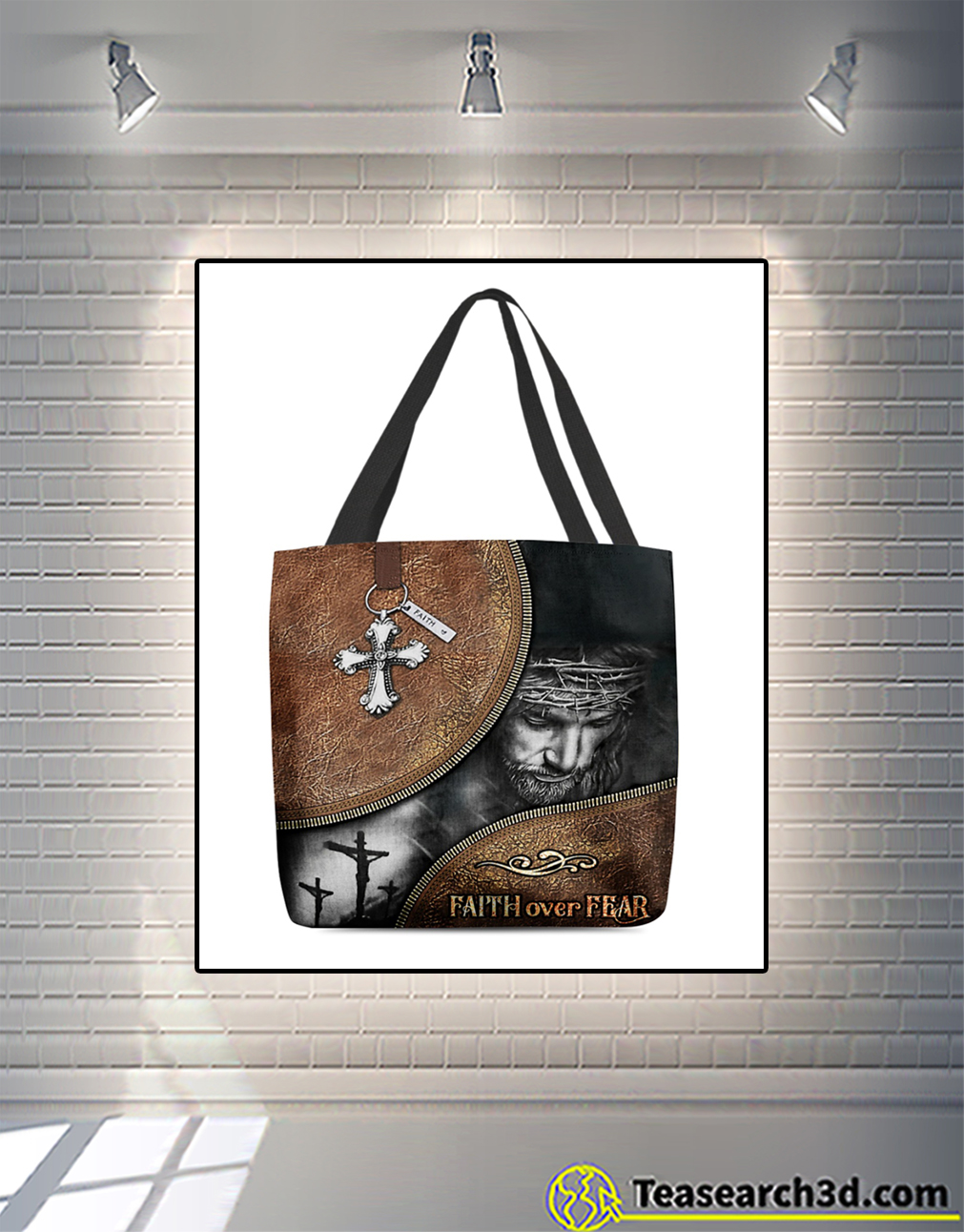Jesus faith over fear all-over tote bag