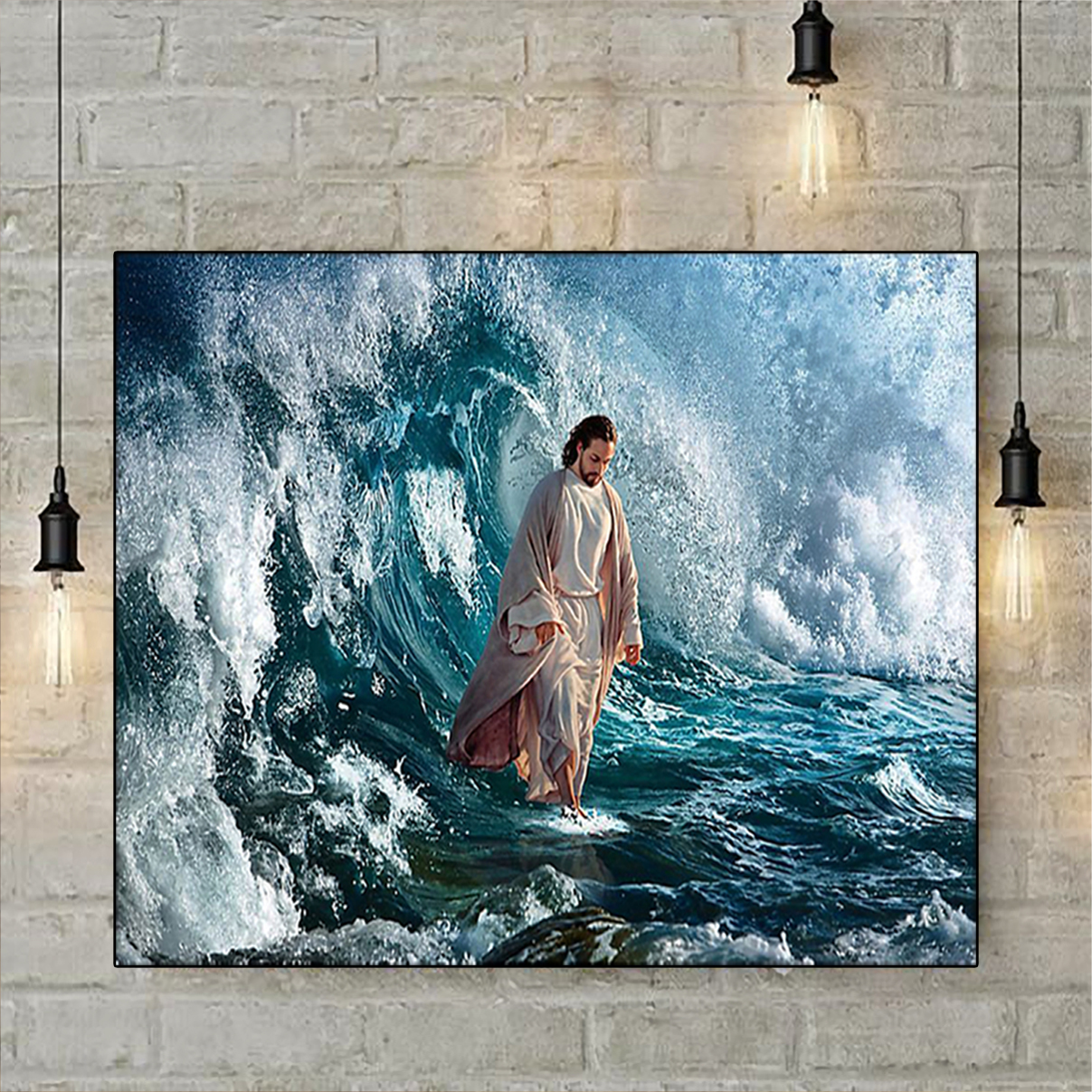 Jesus he walk on water poster A3