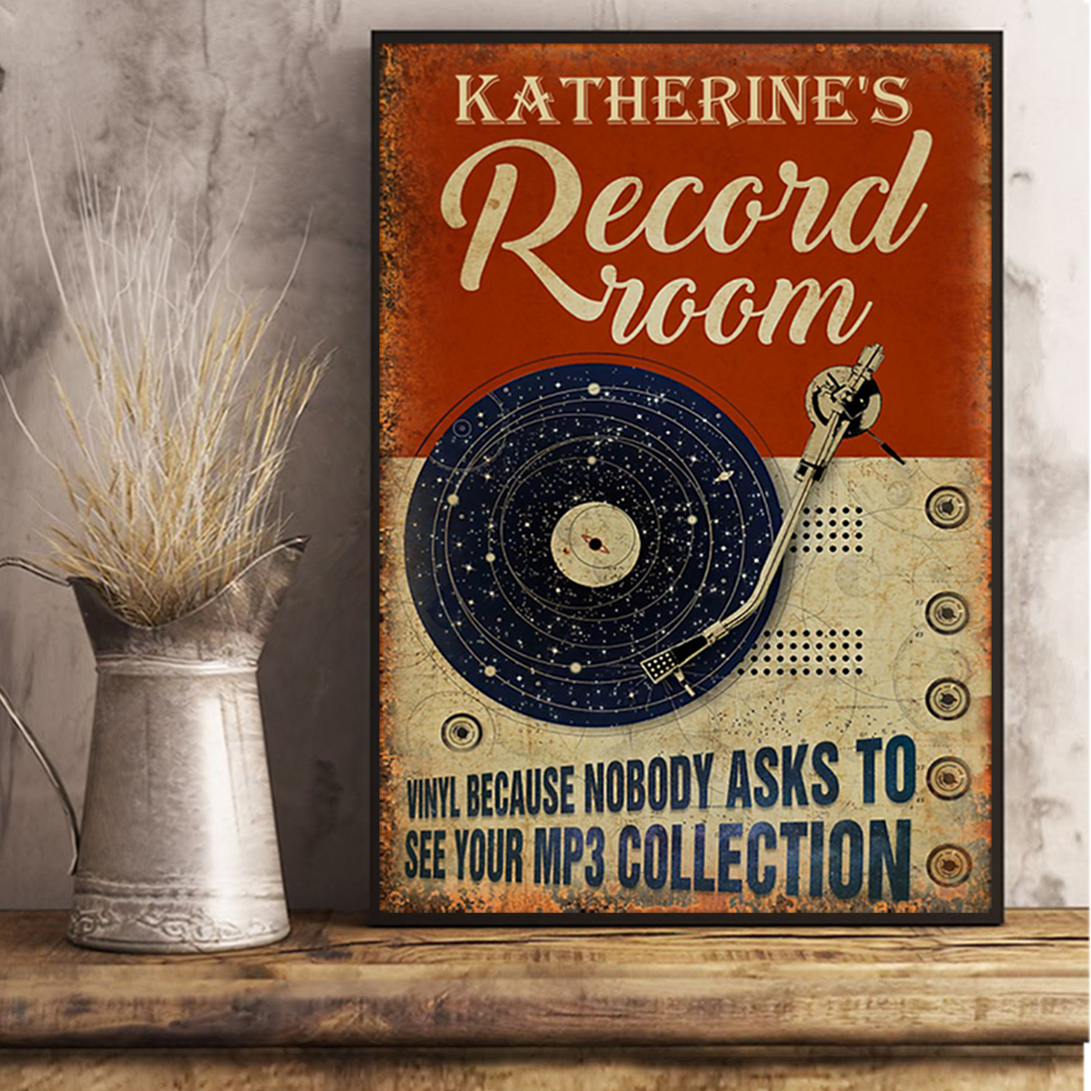 Katherine's record room vinyl because nobody ask to see your mp3 collection poster A1