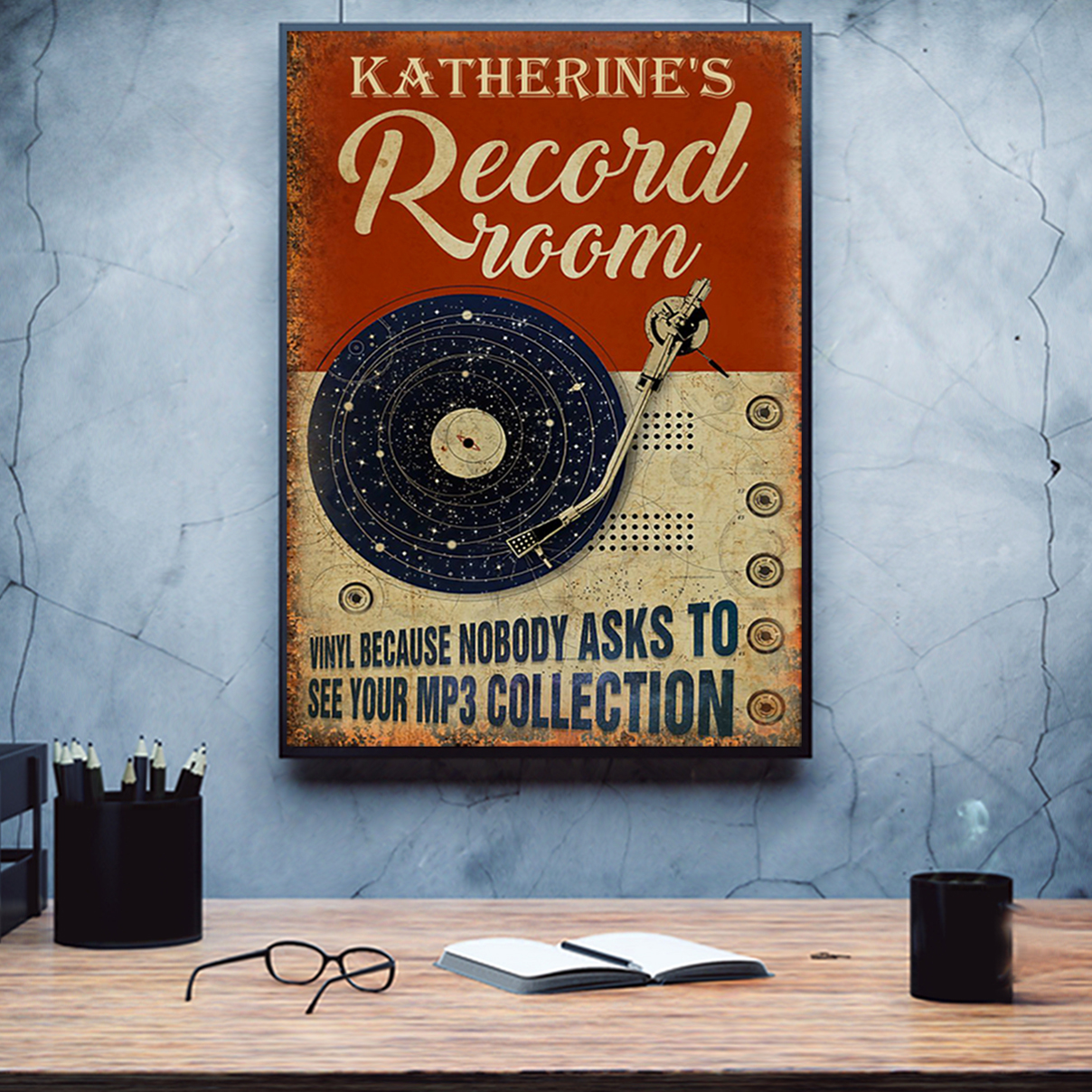 Katherine's record room vinyl because nobody ask to see your mp3 collection poster A2