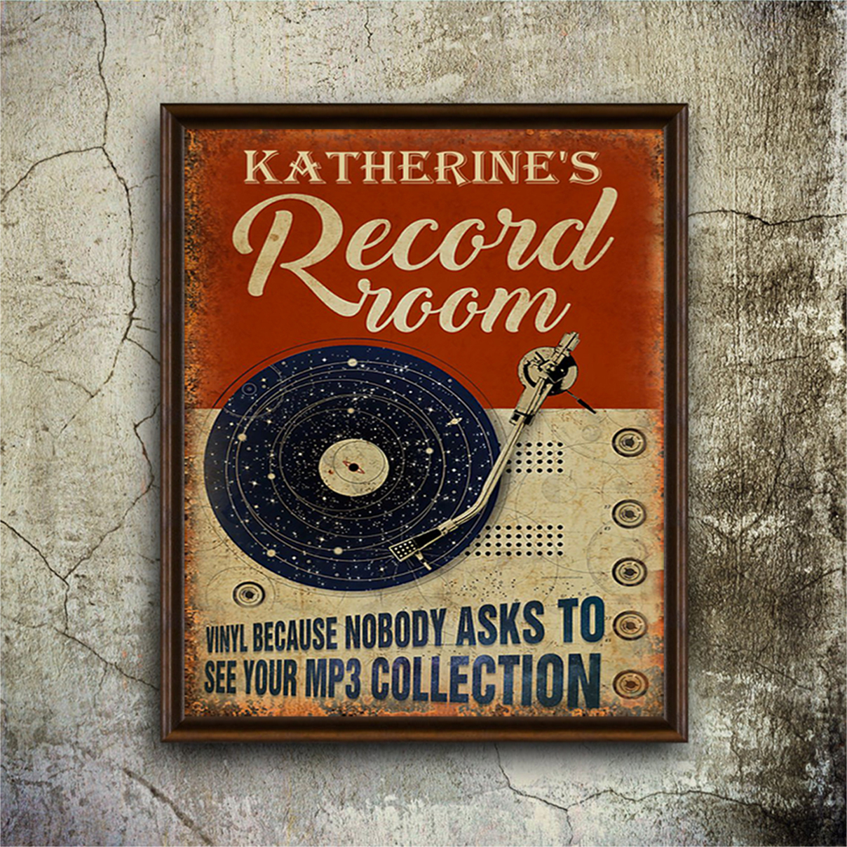 Katherine's record room vinyl because nobody ask to see your mp3 collection poster A3