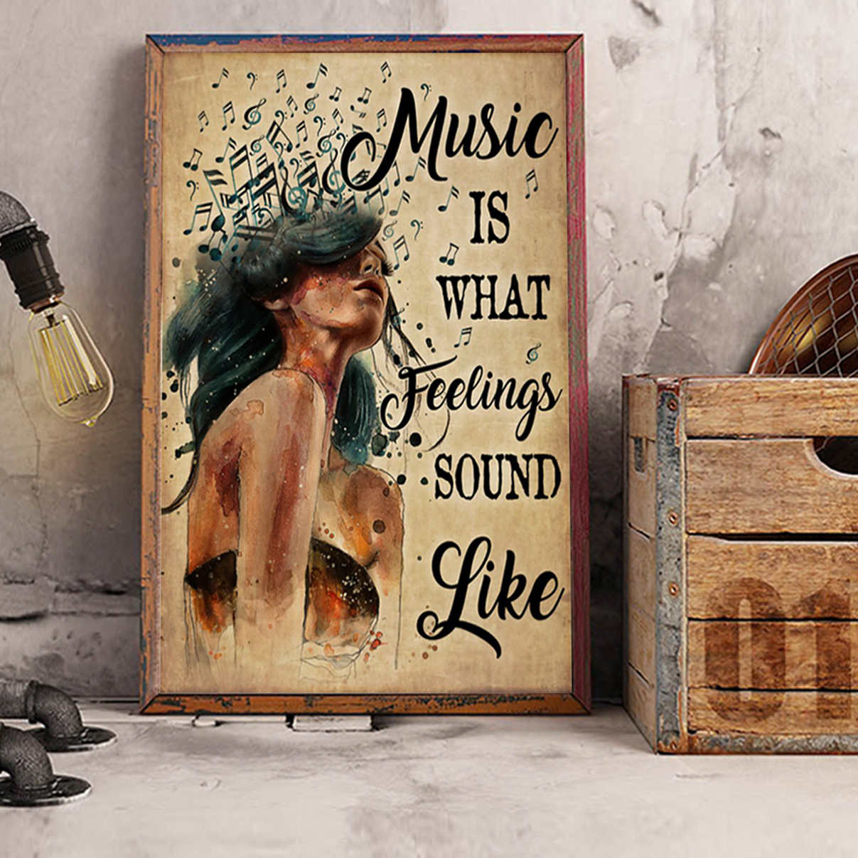 Music is what feelings sound like poster A2