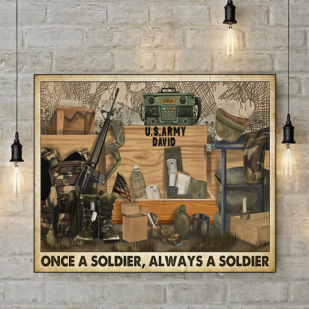 Personalized Veteran once a soldier always a soldier poster A2