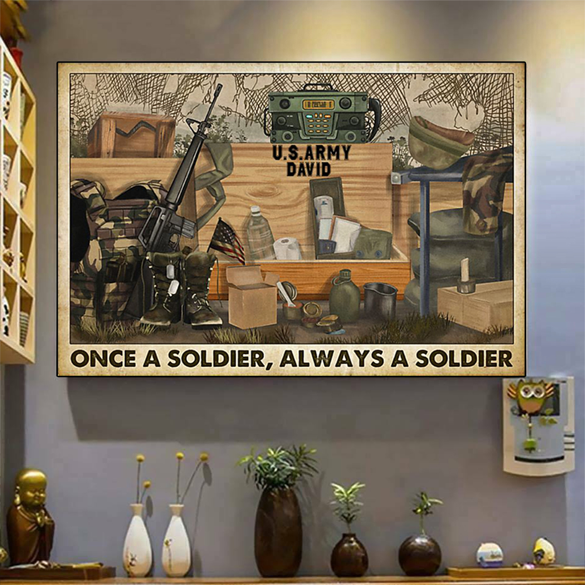 Personalized Veteran once a soldier always a soldier poster A3