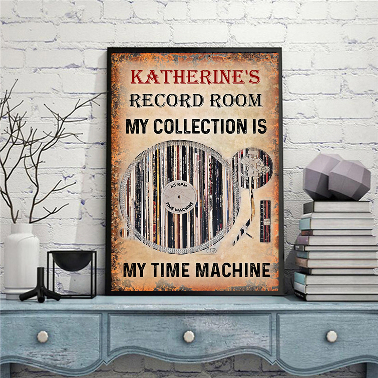 Personalized custom name Vinyl record room my collection is my time machine poster A1