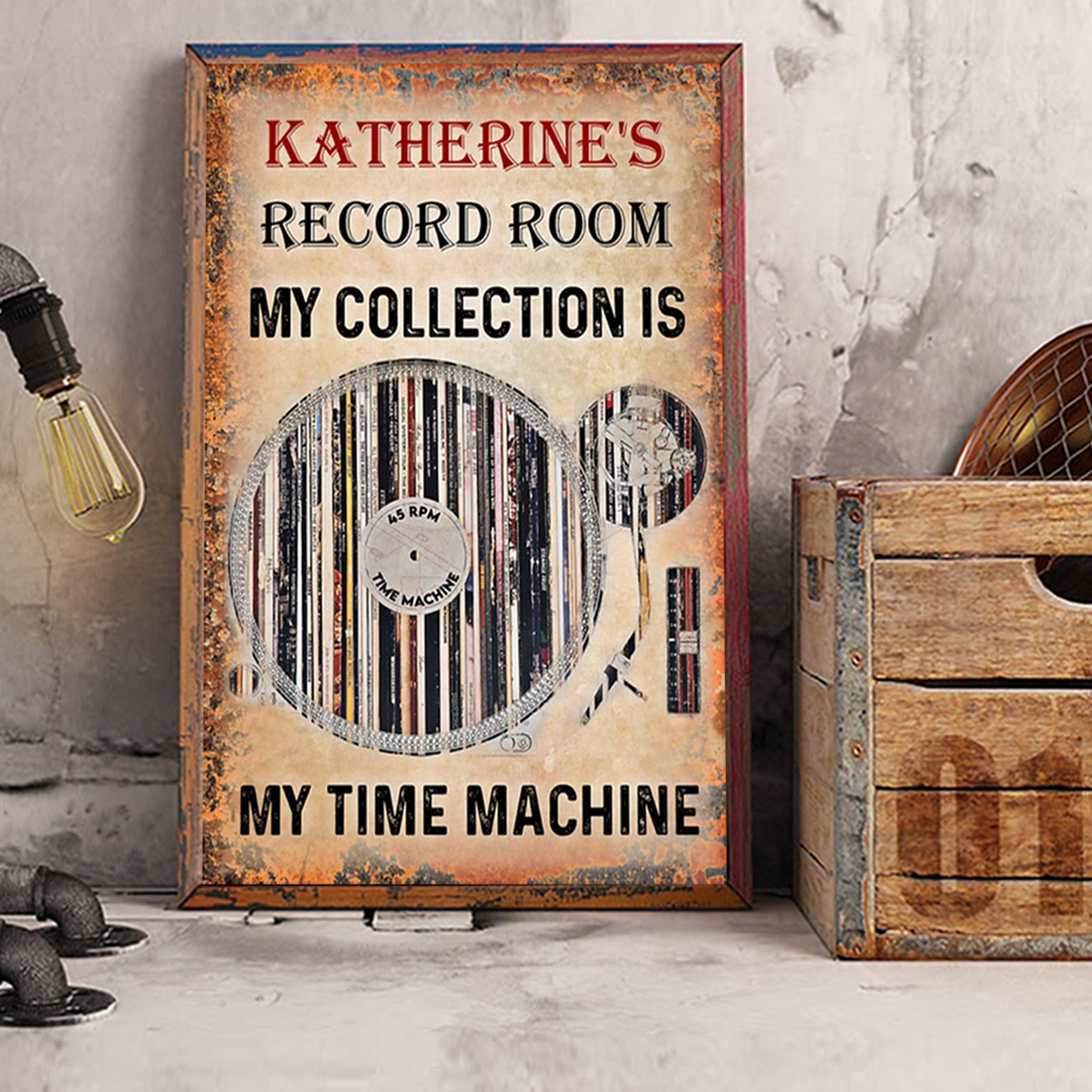 Personalized custom name Vinyl record room my collection is my time machine poster A2