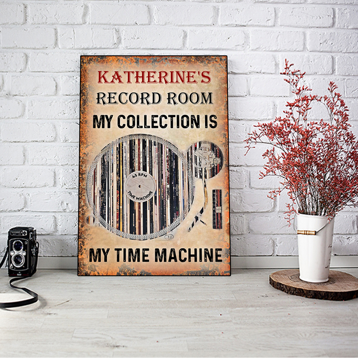 Personalized custom name Vinyl record room my collection is my time machine poster A3