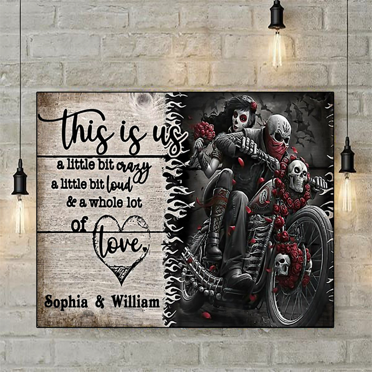 Personalized motorcycling skeleton this is us a little bit crazy poster A3