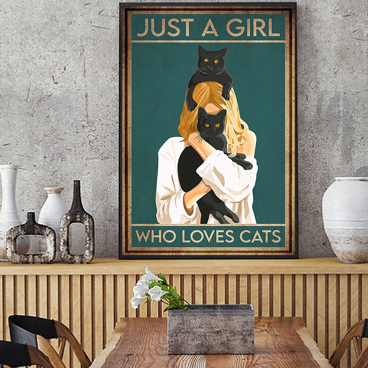 Poster just a girl who loves cats A3