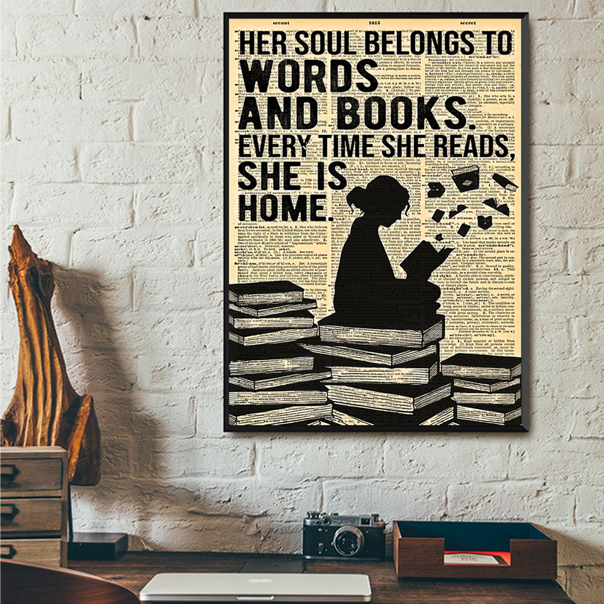 Reading her soul belongs to words and books poster A1
