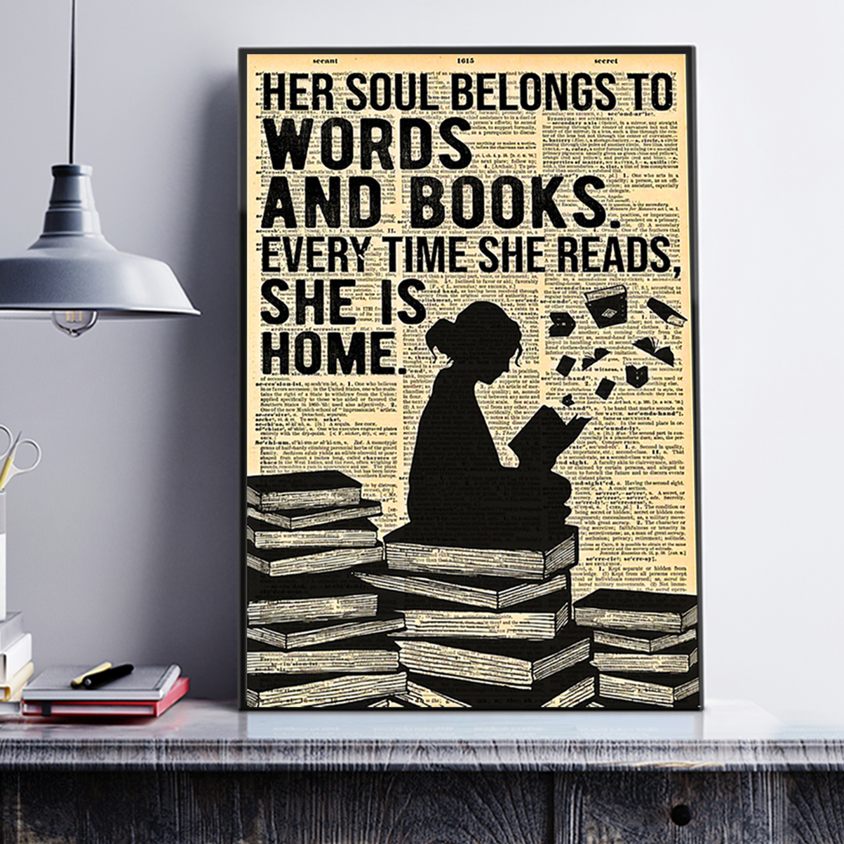 Reading her soul belongs to words and books poster A3