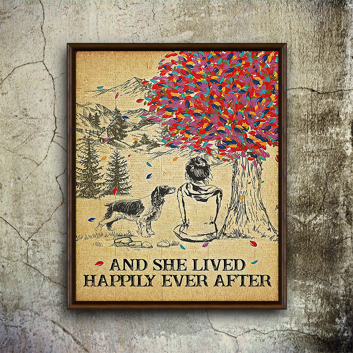 Springer spaniel and she lived happily ever after poster A1