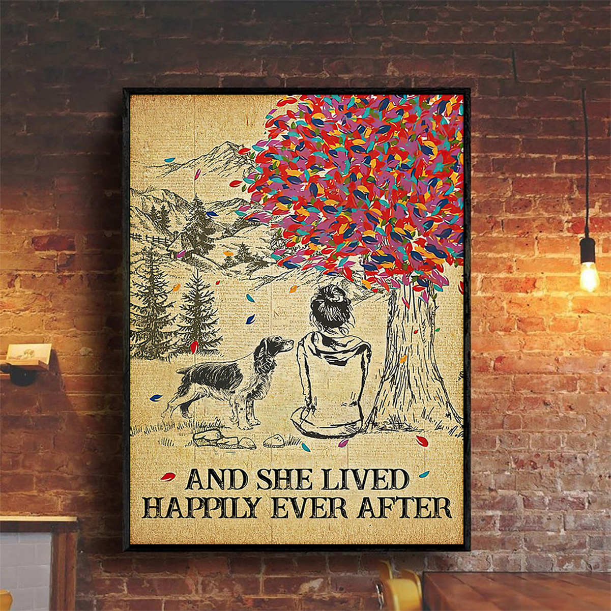 Springer spaniel and she lived happily ever after poster A2