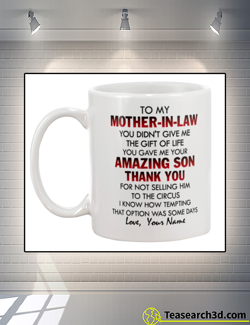 To my mother in law personalized name mug back