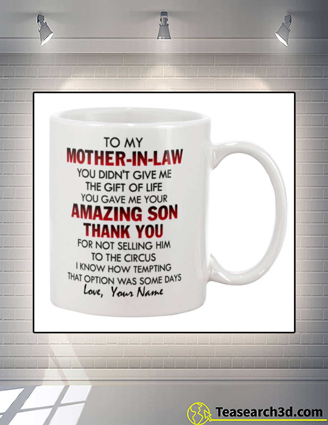 To my mother in law personalized name mug front